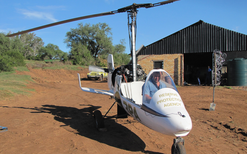 Demonstration flight for Rhino protection group